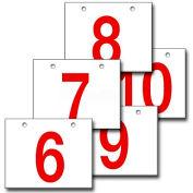 "Hanging Aisle Sign, Horizontal, 1-Side, 6-10 Range, RD/WHT, 18""L X 12""H"