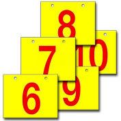 "Hanging Aisle Sign, Horizontal, 1-Side, 6-10 Range, RD/YEL, 18""L X 12""H"