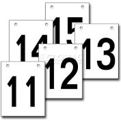 """Hanging Aisle Sign, Vertical, 1-Side, 11-15 Range, BLK/YEL, 12""""L X 18""""H"""