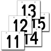 "Hanging Aisle Sign, Horizontal, 2-Side, 11-15 Range, BLK/YEL, 18""L X 12""H"
