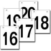 """Hanging Aisle Sign, Vertical, 1-Side, 16-20 Range, BLK/WHT, 12""""L X 18""""H"""