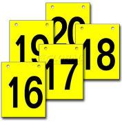 """Hanging Aisle Sign, Vertical, 1-Side, 16-20 Range, BLK/YEL, 12""""L X 18""""H"""