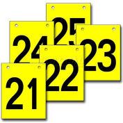 """Hanging Aisle Sign, Vertical, 1-Side, 21-25 Range, BLK/YEL, 12""""L X 18""""H"""