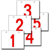 "Hanging Aisle Sign, Horizontal, 2-Side, 1-5 Range, RD/WHT, 28""L X 20""H"