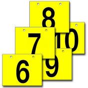"Hanging Aisle Sign, Horizontal, 2-Side, 6-10 Range, BLK/YEL, 28""L X 20""H"