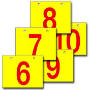 "Hanging Aisle Sign, Horizontal, 1-Side, 6-10 Range, RD/YEL, 28""L X 20""H"