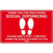 "Global Industrial® Red Social Distancing Floor Sign, 16"" W x 10"" H, Vinyl Adhesive"