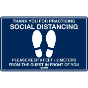 "Global Industrial™ Dark Blue Social Distancing Floor Sign, 16"" W x 10"" H , Vinyl Adhesive"
