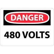 """NMC D101P OSHA Sign, Danger 480 Volts, 7"""" X 10"""", White/Red/Black"""