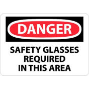 "NMC D11RB OSHA Sign, Danger Safety Glasses Required In This Area, 10"" X 14"", White/Red/Black"