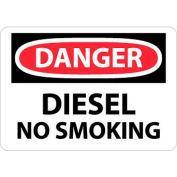 "NMC D18PB OSHA Sign, Danger Diesel No Smoking, 10"" X 14"", White/Red/Black"