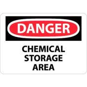 "NMC D239PB OSHA Sign, Danger Chemical Storage Area, 10"" X 14"", White/Red/Black"