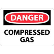 "NMC D245RB OSHA Sign, Danger Compressed Gas, 10"" X 14"", White/Red/Black"