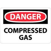 "NMC D245RB OSHA Sign, Danger Compressed Gas, 10"" X 14"", White/Red/Black"