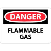 "NMC D276RB OSHA Sign, Danger Flammable Gas, 10"" X 14"", White/Red/Black"