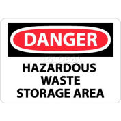"NMC D285RB OSHA Sign, Danger Hazardous Waste Storage Area, 10"" X 14"", White/Red/Black"