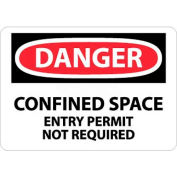 "NMC D373P OSHA Sign, Danger Confined Space Entry Permit Not Required, 7"" X 10"", White/Red/Black"