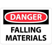 "NMC D37RB OSHA Sign, Danger Falling Materials, 10"" X 14"", White/Red/Black"