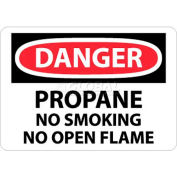 "NMC D397AB OSHA Sign, Danger Propane No Smoking No Open Flame, 10"" X 14"", White/Red/Black"