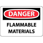"NMC D39RB OSHA Sign, Danger Flammable Materials, 10"" X 14"", White/Red/Black"