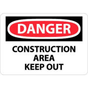 """NMC D404RB OSHA Sign, Danger Construction Area Keep Out, 10"""" X 14"""", White/Red/Black"""