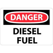"NMC D427PB OSHA Sign, Danger Diesel Fuel, 10"" X 14"", White/Red/Black"