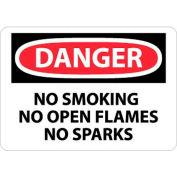 """NMC D458P OSHA Sign, Danger No Smoking No Open Flames No Sparks, 7"""" X 10"""", White/Red/Black"""