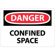 """NMC D487AB OSHA Sign, Danger Confined Space, 10"""" X 14"""", White/Red/Black"""