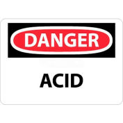 "NMC D5RB OSHA Sign, Danger Acid, 10"" X 14"", White/Red/Black"