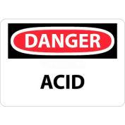 """NMC D5RB OSHA Sign, Danger Acid, 10"""" X 14"""", White/Red/Black"""