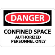 "NMC D643PB OSHA Sign, Danger Confined Space Authorized Personnel Only, 10"" X 14"", White/Red/Black"