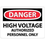 """NMC D647RB OSHA Sign, Danger High Voltage Authorized Personnel Only, 10"""" X 14"""", White/Red/Black"""