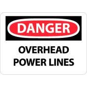 """NMC D667RB OSHA Sign, Danger Overhead Power Lines, 10"""" X 14"""", White/Red/Black"""