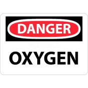 "NMC D98AB OSHA Sign, Danger Oxygen, 10"" X 14"", White/Red/Black"