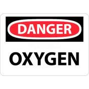 """NMC D98RB OSHA Sign, Danger Oxygen, 10"""" X 14"""", White/Red/Black"""