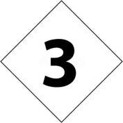 "NMC DCN23 NFPA Label Number, 3, 2-1/2"" X 2-1/2"", White/Black, 5/Pk"