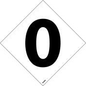 """NMC DCN40 NFPA Label Number, 0, 5"""" X 5"""", White/Black, 5/Pk - Pkg Qty 5"""