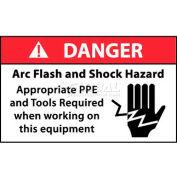 """NMC DGA61AP Arc Flash Labels, Danger Arc Flash & Shock Hazard Appropriate PPE, 3"""" X 5"""", Wht/Rd/Blk"""