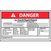 "NMC DGA65AP Arc Flash Labels, Danger Arc Flash & Shock Hazard, 3"" X 5"", White/Red/Black"
