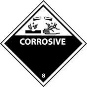 "NMC DL12AP DOT Shipping Labels, Corrosive 8, 4"" X 4"", White/Black, 25 Per Pack"