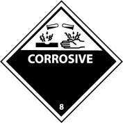 """National Marker Company """"Corrosive"""" Class 8 DOT Shipping Labels, 4""""L x 4""""W, Black/White, Roll of 25"""