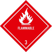 "NMC DL158AP DOT Shipping Labels, Flammable 3, 4"" X 4"", White/Red, 25 Per Pack"