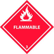 """NMC DL158P DOT Placard, Flammable 3, 10-3/4"""" X 10-3/4"""", White/Red"""