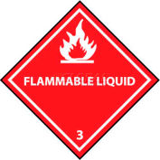 "NMC DL161AL DOT Shipping Labels, Flammable Liquid 3, 4"" X 4"", White/Red, 500 Per Roll"