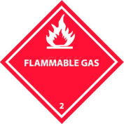 "NMC DL2AP DOT Shipping Labels, Flammable Gas 2, 4"" X 4"", White/Red, 25 Per Pack"