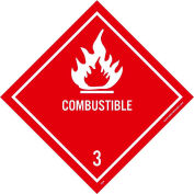 "NMC DL9AP DOT Shipping Labels, Combustible 3, 4"" X 4"", White/Red, 25 Per Pack"