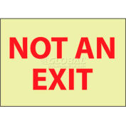 """NMC GL15PB Fire Sign, Not An Exit - Glow, 10"""" X 14"""", White/Red"""