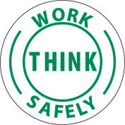 "NMC HH12 Hard Hat Emblem, Work Think Safely, 2"" Dia., White/Green"
