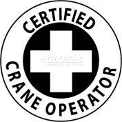 "NMC HH34 Hard Hat Emblem, Certified Crane Operator, 2"" Dia., White/Black"