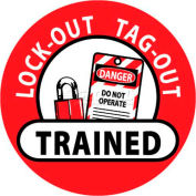 """NMC HH47 Hard Hat Emblem, Lock-Out Tag-Out Trained, 2"""" Dia., White/Red/Black"""